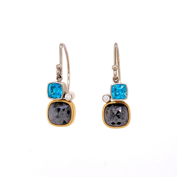 Black Diamond & Zircon Earrings