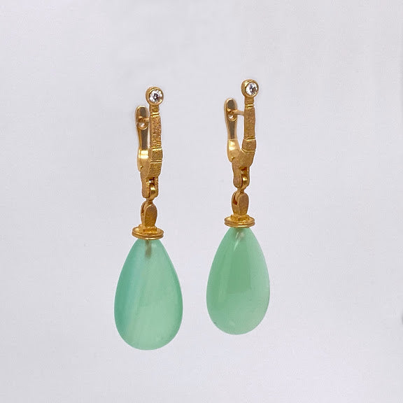 18K Yellow Gold & Calcite Earrings