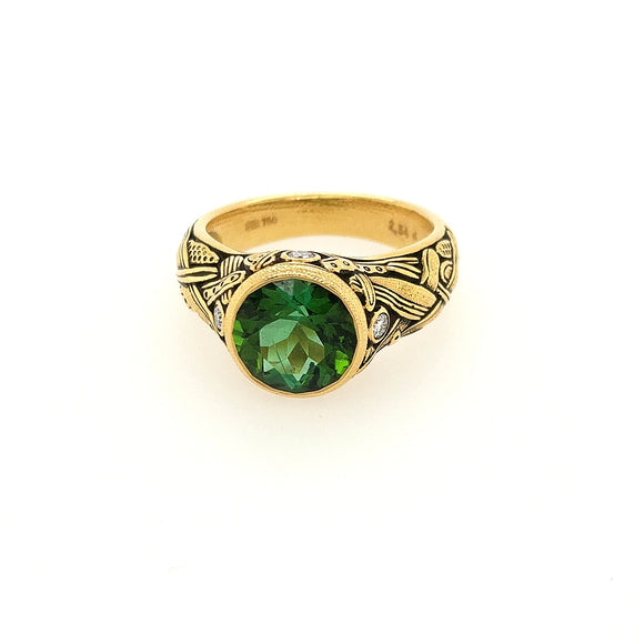 Reed Ring with Green Tourmaline