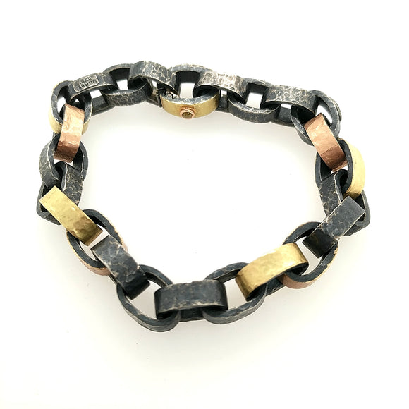 Sterling and Yellow & Rose Gold Bracelet