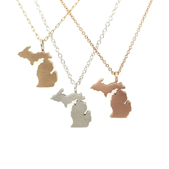 Gold Michigan Charm Pendants