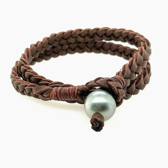 Braided Leather & Pearl Bracelet