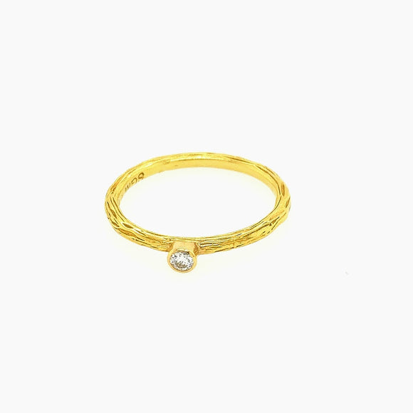 Pebble Stacking Band Yellow Gold with Diamond