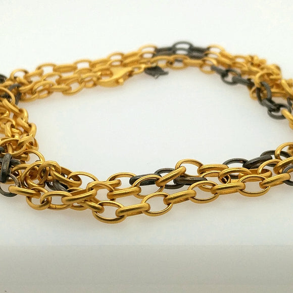24K Gold & Sterling Chain Necklace