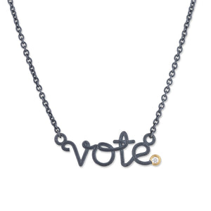 Vote Necklace - Black and Gold