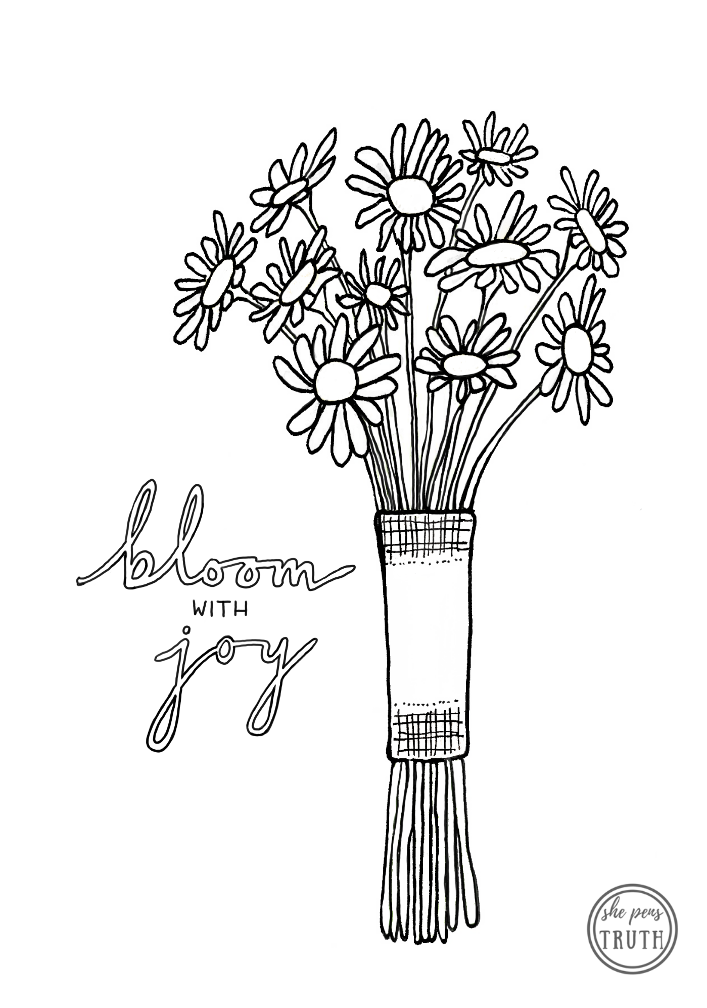 Bloom with Joy, daisy bouquet coloring page, She Pens Truth