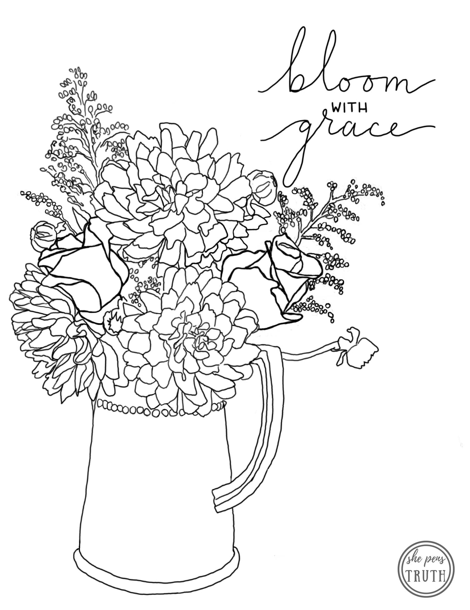 Bloom with Grace, free She Pens Truth coloring page