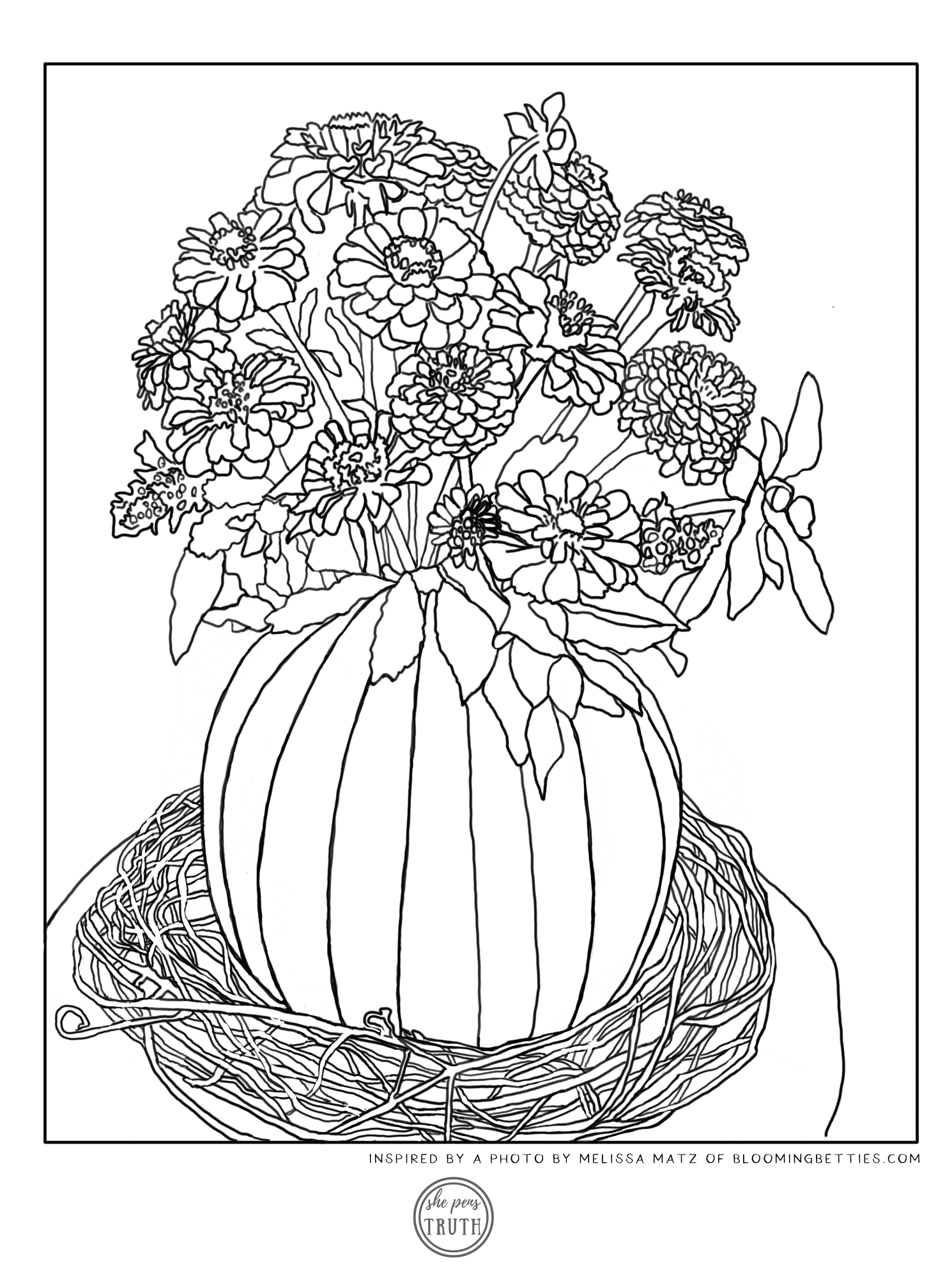 Bloom with Gratitude Coloring Page, Blooming Betties and She Pens Truth, Pumpkin Vase filled with Zinnias