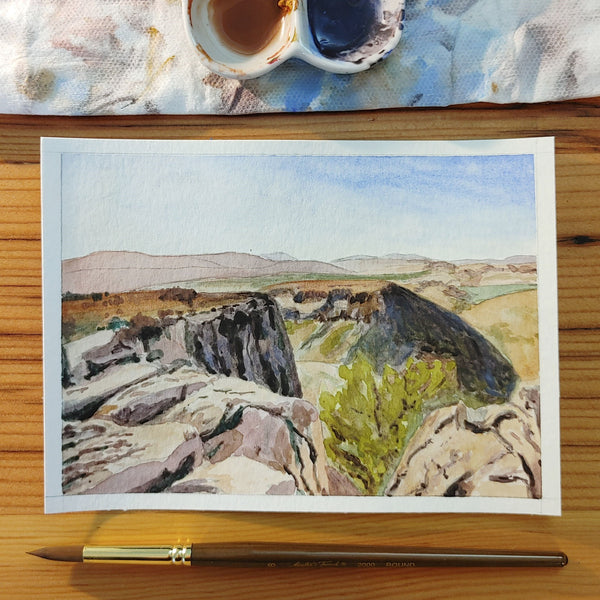 Mt. Arbel watercolor painting, She Pens Truth, Maggie Greenway, Israel painting