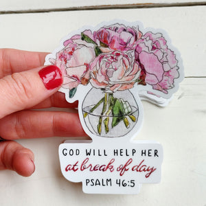 Sticker, God will Help Her Peony Bouquet