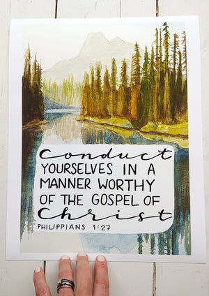 Giclee Fine Art Print of Philippians 1:27, Conduct yourselves in a matter worthy of the gospel of Christ, Alpine lake landscape watercolor painting