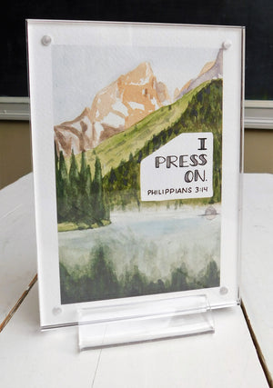 Giclee Fine Art Print of Philippians 3:14, I Press On,  Alpine lake landscape watercolor painting