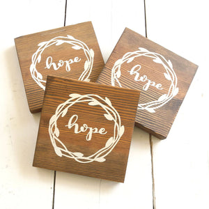 "Reclaimed Wood Sign, ""hope"" with wreath"