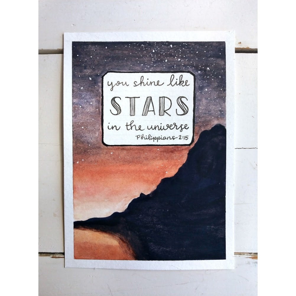 You Shine Like Stars, Philippians 2:15, An Original Watercolor Painting