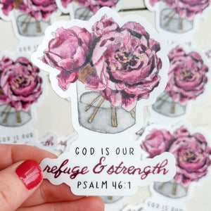 Sticker, Refuge and Strength Peony Bouquet
