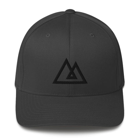 Fitted PEAK Cap | BLACK Stitch