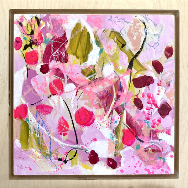 "Rosy 3 - 8 x 8"" Original Abstract on Birchwood panel & frame"