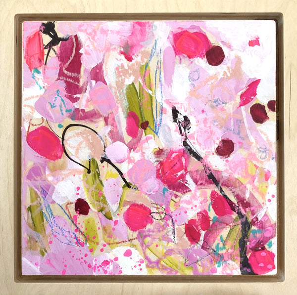 "Rosy 4 - 8 x 8"" Original Abstract on Birchwood panel & frame"