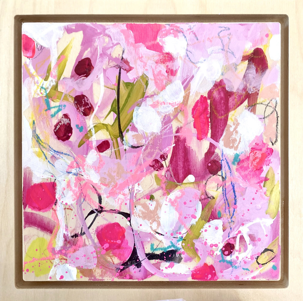 "Rosy 2 - 8 x 8"" Original Abstract on Birchwood panel & frame"