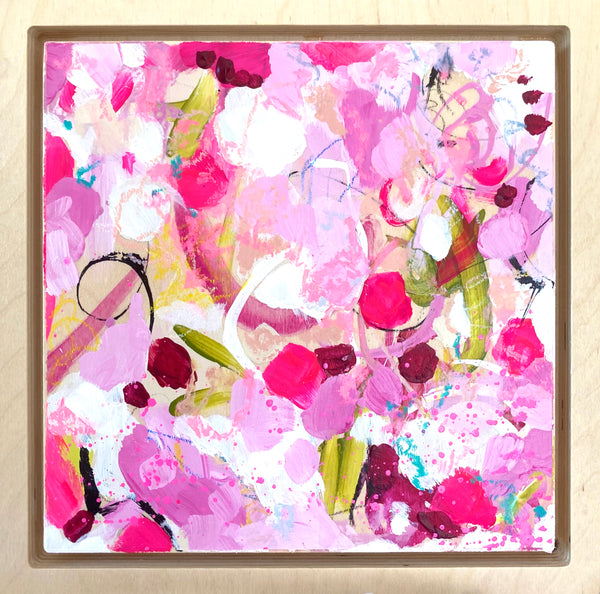"Rosy 1- 8 x 8"" Original Abstract on Birchwood panel & frame"