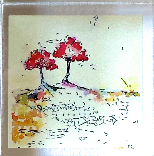 Red Trees Print Acrylic Block