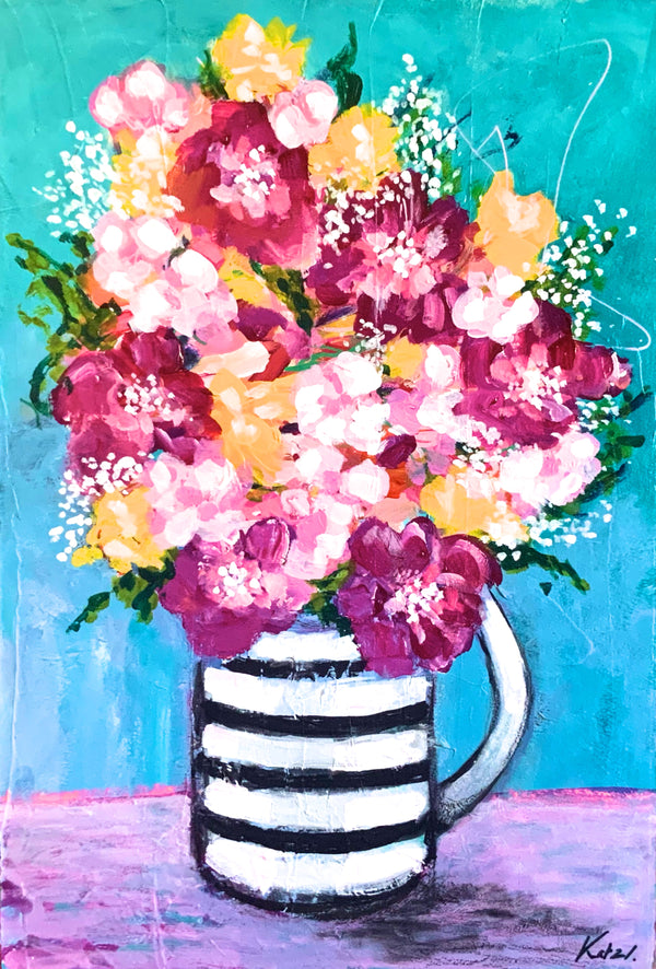 """Flowers with Coffee"" 22 x 15"" Original Painting"
