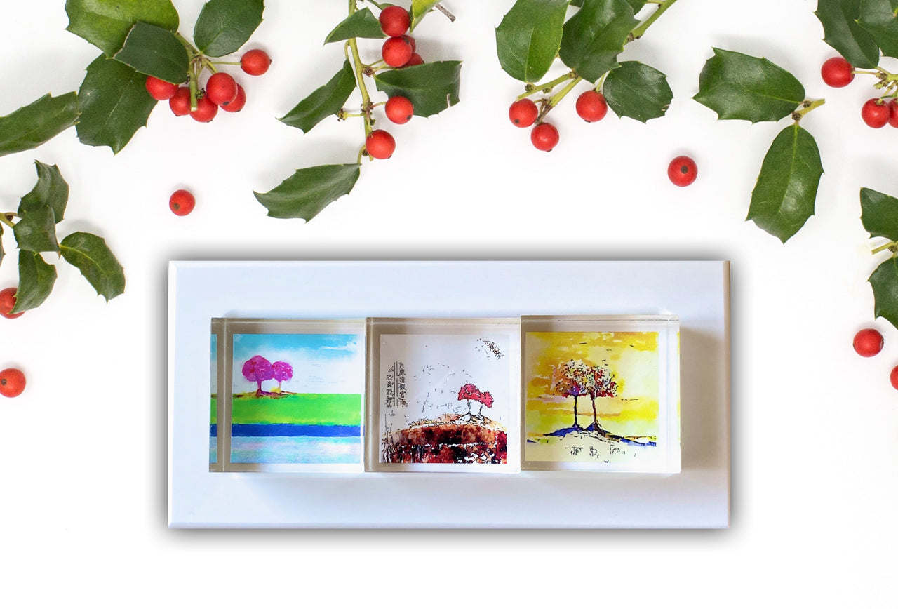3 Colorful Tree Prints in Acrylic presented in a White Corian Tray