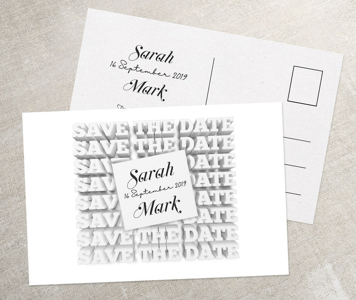 Weiße Save-The-Date Karte