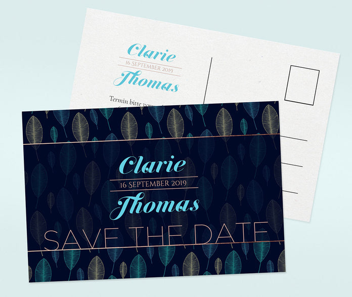 Blaue Save-The-Date Karte
