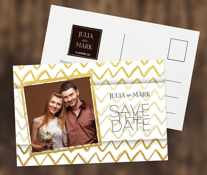 Goldene Save-The-Date Karte