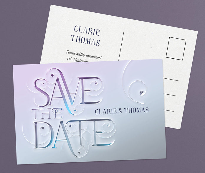 Glänzende Save-The-Date Karte