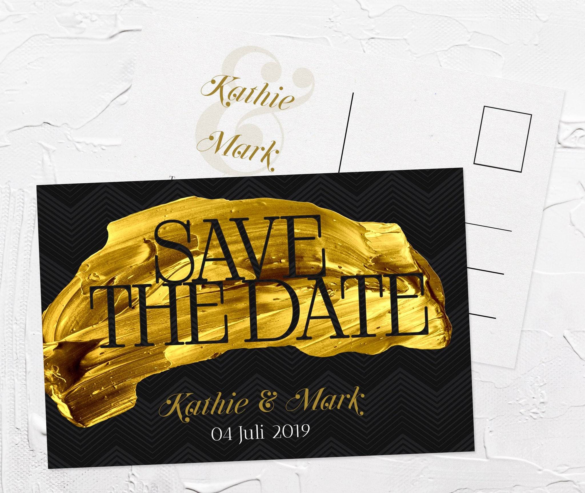 Elegante Save-The-Date Schwarz