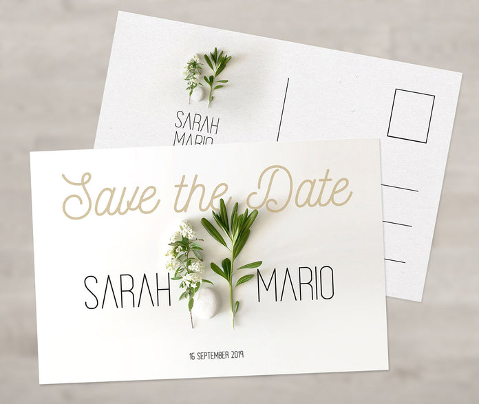 Perlmutt Save-The-Date Karte