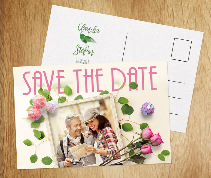 Save-The-Date Karte Rose
