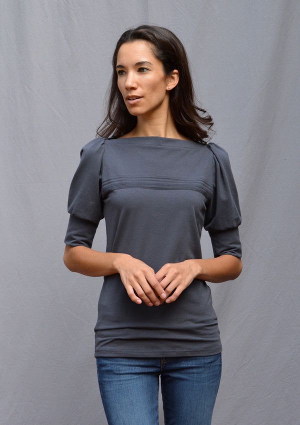 Puff Sleeve Top with Lines