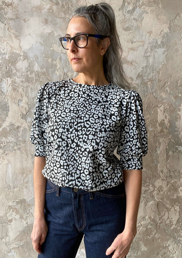 Puff Sleeve Top, Leopard Print