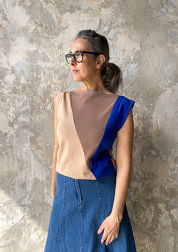 Triangle Top in Neutrals + Blue