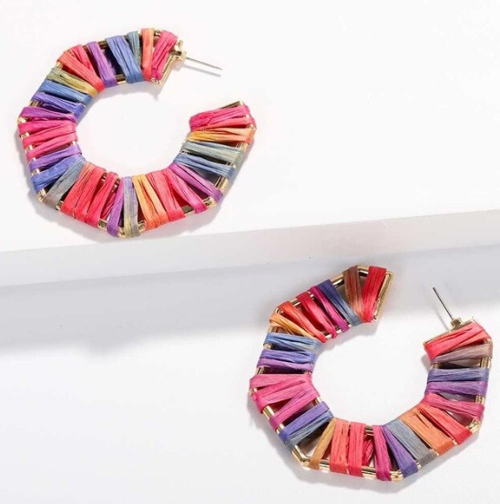 Nadia Raffia Statement Earring