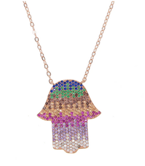 Genesis Rainbow Hamsa Necklace-925 Sterling Silver
