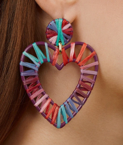 Isla Raffia Heart Statement Earring