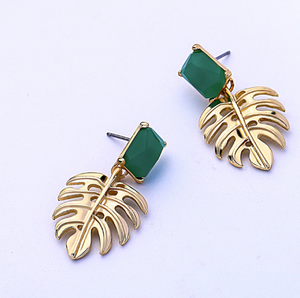 Jade Palm Tree Statement Earring