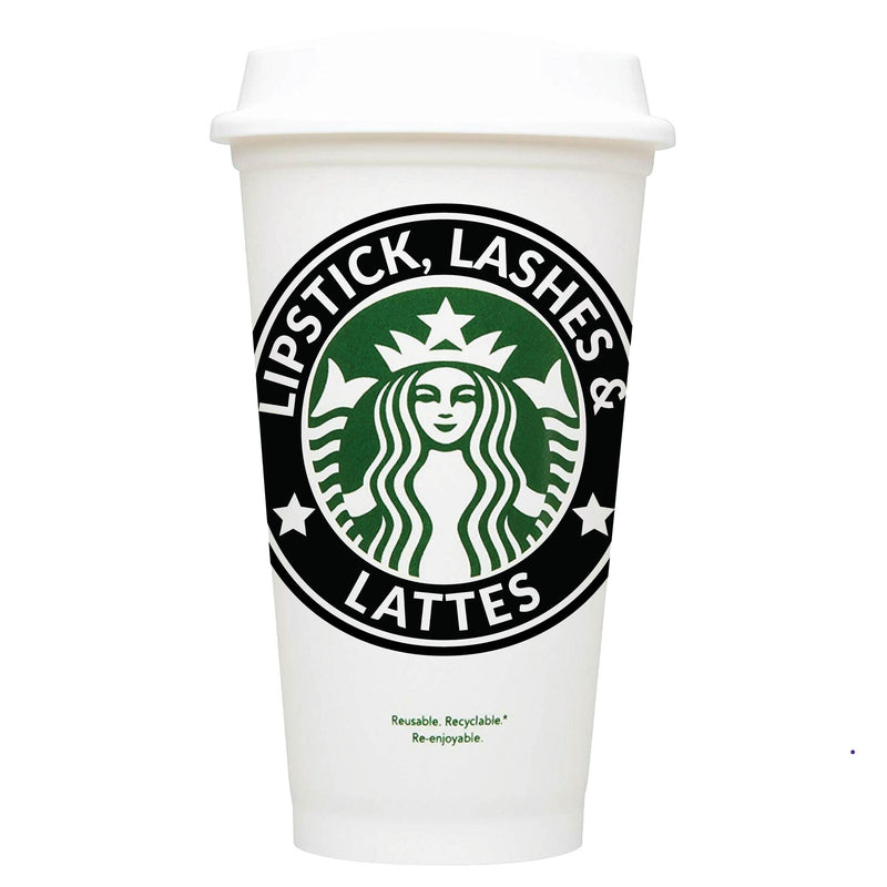 Lipstick, Lashes & Lattes Starbucks Hot Cup