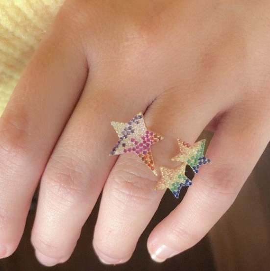 Nova Rainbow Star Adjustable Ring-925 Sterling Silver
