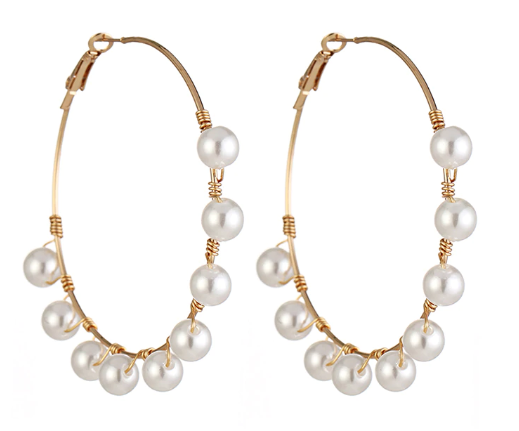 Sierra Over sized Pearl Hoops