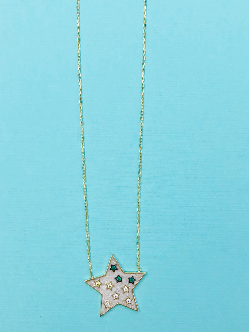 Preet Enamel Star Necklace