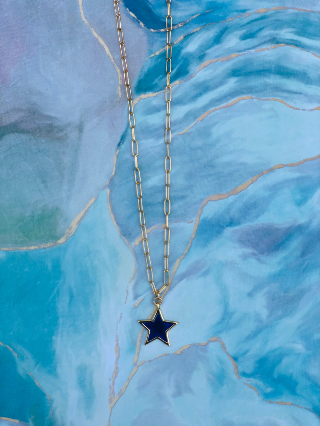 Rylee Blue Enamel Star Necklace