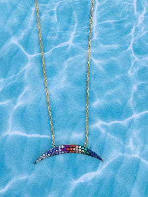 Valeria Rainbow Crescent Necklace