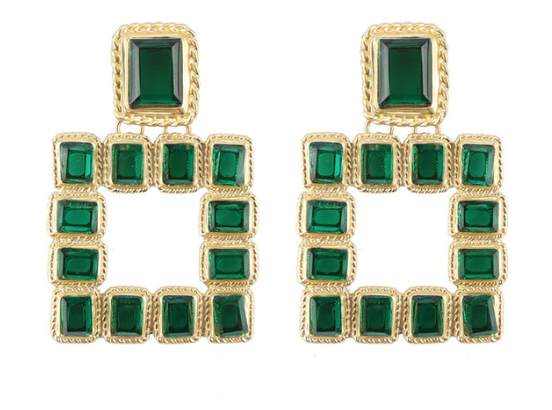 Amara Jeweled Earrings-Green