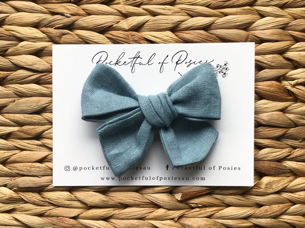 Dusty Aqua Linen Evie Bow