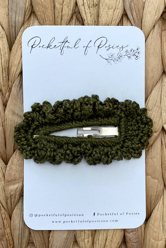Crochet Clips Olive